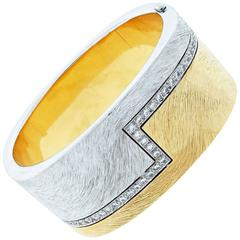 BINDER of Switzerland Contemporary Diamond Two Tone Gold Bangle Bracelet
