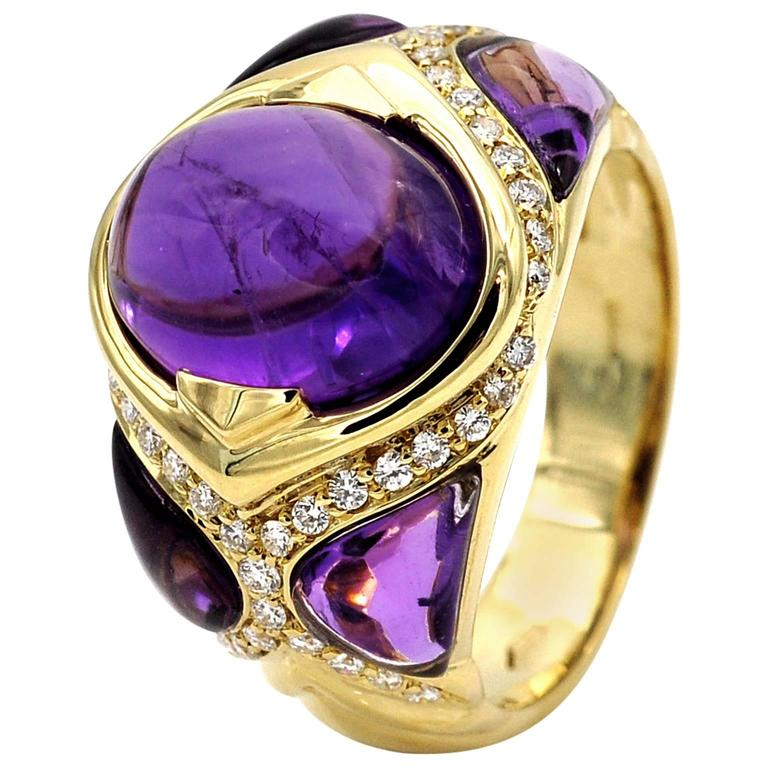 Amethyst Diamond Gold Cocktail Ring
