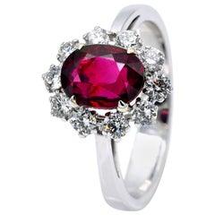 GRS Certified Unheated 2.54 Carat Ruby Diamond Halo Ring