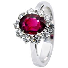 GRS Certified Unheated 2.54 Carat Ruby Diamond Halo Ring