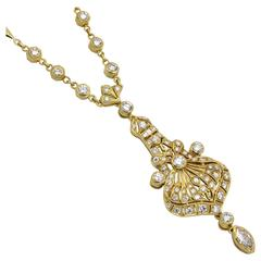 Diamond and Gold Drop Necklace
