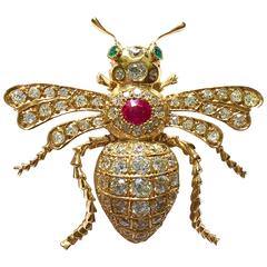 Diamond Ruby  Emerald Gold Insect Pin