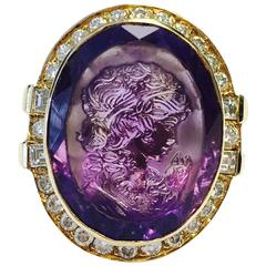 Large Carved Cameo Amethyst and Diamond Ring