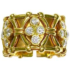 Wide Yellow Gold Diamond Flex Cuff Ring by Mark Patterson