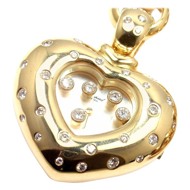 Chopard Happy Diamond Yellow Gold Heart Shape Watch Pendant Necklace