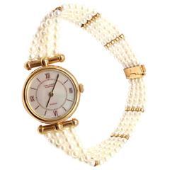 Van Cleef & Arpels Ladies Yellow Gold Seed Pearl Bracelet Quartz Wristwatch
