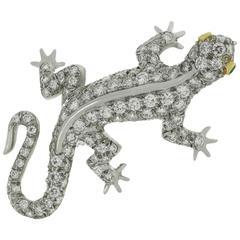 Tiffany & Co. Diamond Emerald Platinum Salamander Pendant Brooch
