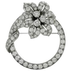 Tiffany & Co. Diamond Platinum Flower Circle Brooch