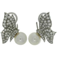 Tiffany & Co. Diamond Pearl Platinum Butterfly Clip-on Earrings