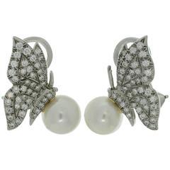 Tiffany & Co. Diamond Pearl Platinum Butterfly Clip-on Earrings