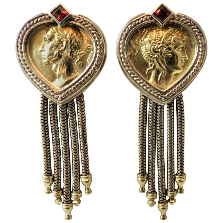 Sidengang  Yellow Gold  Sterling Silver Clip Earrings