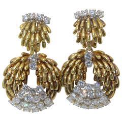 1960s Gold  diamond earrings