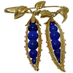Schlumberger for Tiffany & Co. Lapis Lazuli sweet pea pod brooch