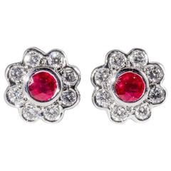 Ruby And Diamond Clustre Earrings