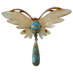 Elizabeth Bonté Art Nouveau Butterfly Horn Pendant