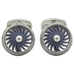 Rotating Aircraft Engine Sterling Silver Cufflinks
