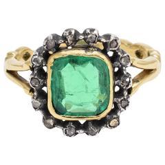 Antique Georgian 1.62 Carat Emerald Diamond Cluster Ring