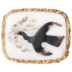 Rare 1962 Georges Braque 'Megaletor III' Gold, Onyx and White Agate Cameo Ring