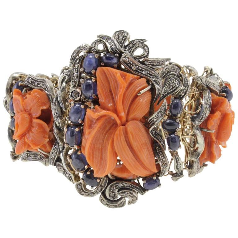 Diamonds Blue Sapphires big Coral Gold and Silver Bracelet
