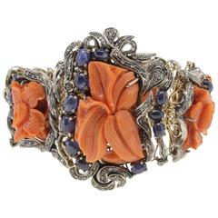 ct 10,18 Diamonds and ct 36,34 Blue Sapphires big Coral Gold and Silver Bracelet