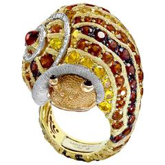 Alex Soldier Diamond Sapphire Ruby Garnet Citrine Platinum Gold Snail Ring