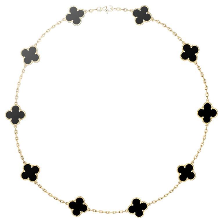 Vintage Van Cleef & Arpels Alhambra Necklace 10 Motifs Onyx