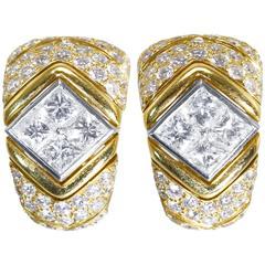 Bulgari Diamond Gold Platinum Earclips