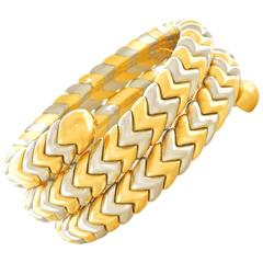 Bulgari Stainless Steel Yellow Gold Snake Bracelet