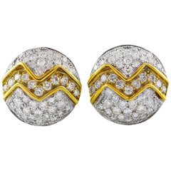 4 Carat Round Diamond Gold Earrings