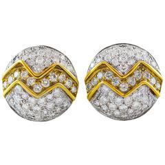 4 Carat Round Diamond Gold Earrings