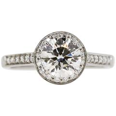 Tiffany & Co 1.25 carat Round Diamond Halo Style Ring