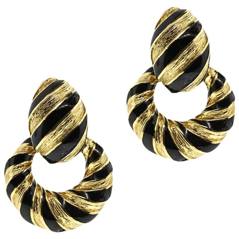 David Webb Enamel Gold Door knocker Earrings