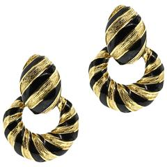 David Webb Enamel Gold Door knocker Earrings