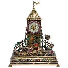 Viennese Jeweled Silver Gilt Tower Clock with Barnyard Animals in the Foreground