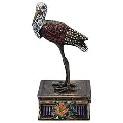 Viennese Jeweled Silver Gilt Figure of a Crane Late 19th Century