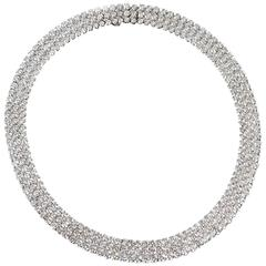 Tiffany & Co. Diamond Three Row Diamond Choker