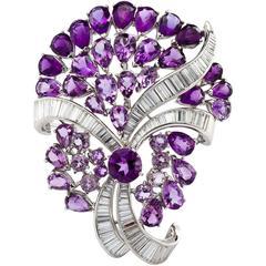 Diamond and Amethyst Bouquet Brooch