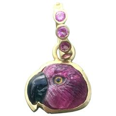 Red Tourmaline Parrot Head Hand Carved