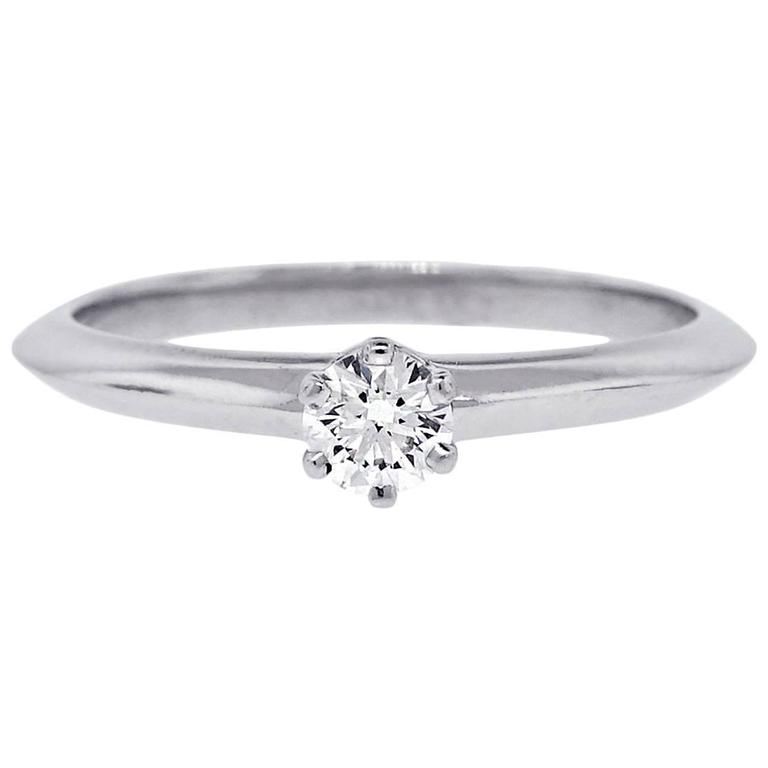 Tiffany & Co. 0.21 Carat  Diamond  Platinum Engagement Ring For Sale