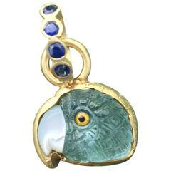 Aquamarine Parrot Hand Carved 18K Sapphire Enhancer