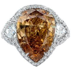 GIA Certified 9.63 Carat Brown-Orange Pear-Shape Diamond Platinum Ring