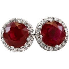 Ruby Diamond Gold Stud Earrings