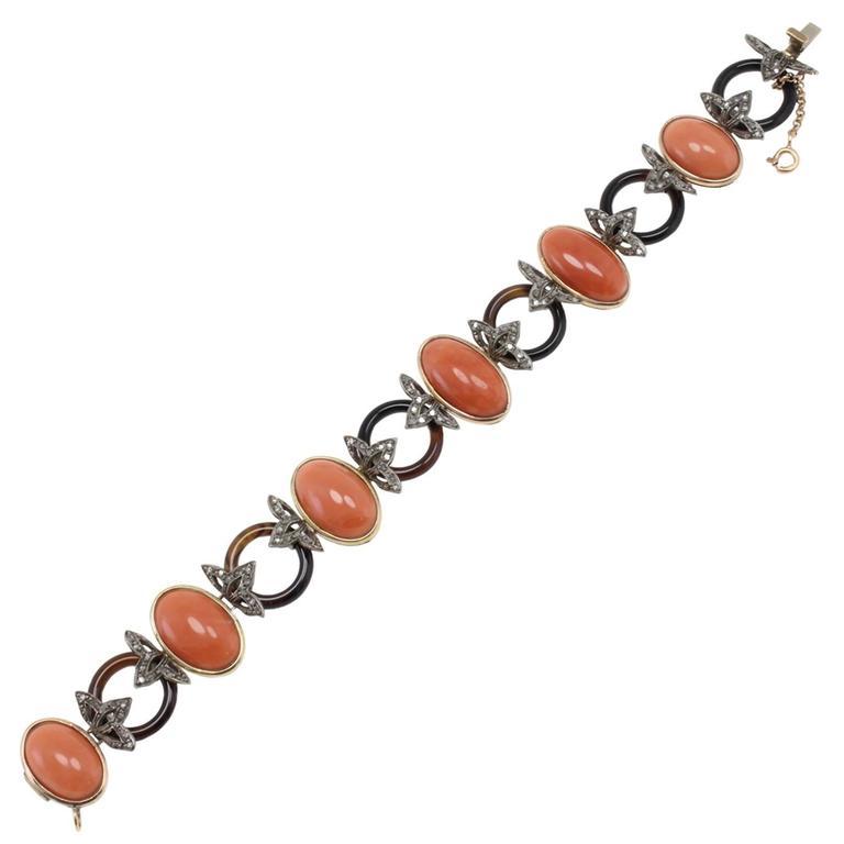 Diamonds Coral Onyx Gold and Silver Bracelet