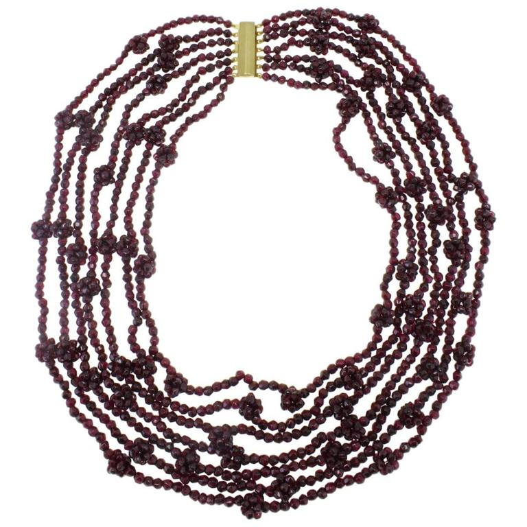 Garnets Silver Necklace