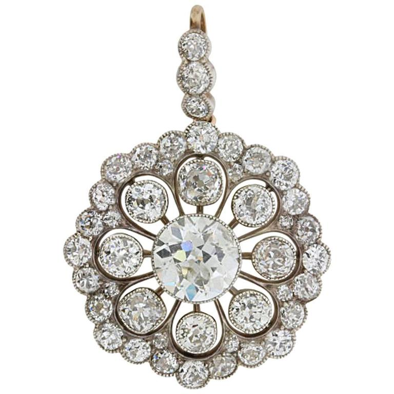 Edwardian platinum and gold diamond brooch pendant for sale at 1stdibs mozeypictures Choice Image