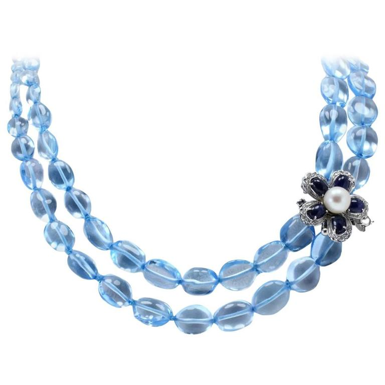 Luise Diamonds Blue Sapphires Pearls Topaz Gold Necklace 1