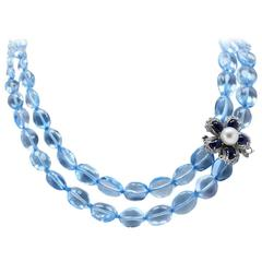 Diamonds Blue Sapphires Pearls Topaz Gold Necklace