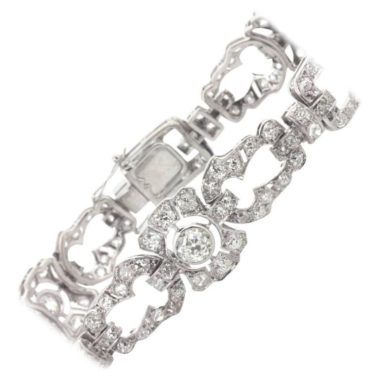 Art Deco 7.00 Carat Old Cut Diamond Bracelet, c.1930s