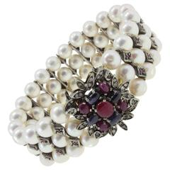 Luise Diamonds Blue Sapphires Rubies Pearls Gold and Silver Bracelet