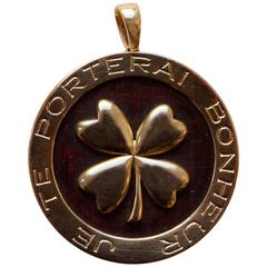 Van Cleef & Arpels Lucky Wood and Gold Pendant
